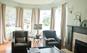 Living Room Bay Window Treatment Peach Bay Window Living Room Designs On The Cream Wall With Cream