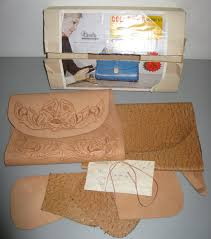 vintage new tandy leather colorama handbag 4311 purse kit in