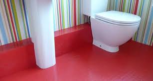 bathroom red rubber flooring