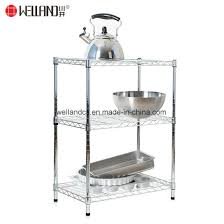 space saving 3 shelf chrome metal open kitchen appliances storage wire rack shelving pictures photos