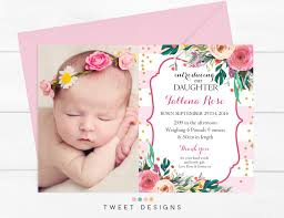 Baby Thankyou Watercolor Flowers Birth Announcement Baby Thankyou Card