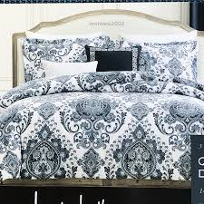 details about nicole miller navy blue taupe 3p full queen duvet cover set lg medallion cotton