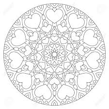 Flower Mandala With Hearts Coloring Page For Valentines Day Stock