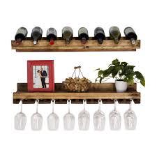 rustic luxe 8 bottle dark walnut wood wall mounted wine rack