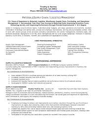 Pleasing Logistics Executive Resume Objective About Supply Chain Management  Resume Examples
