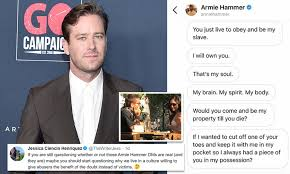 Armie Hammer wanted to 'cut off a girlfriend's toe and keep it in his  pocket' according to messages