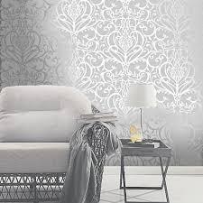 exclusive holden statement fl damask pattern metallic textured wallpaper 50011