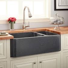 33 polished granite 70 30 offset double bowl farmhouse sink blue gray