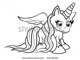 Small Picture Cute Cartoon Fairytale Unicorn Coloring Page Stock Vector