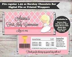 personalized chocolate bar wrappers pink communion personalized candy bar wrapper set of 10 first communion party favors