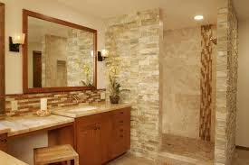 bathrooms with glass tiles. Beautiful Natural Stone Bathroom With Mosaic Glass Tile Backsplash Also Shower Design Bathrooms Tiles