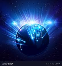 Planet earth in bright rays light Royalty Free Vector Image
