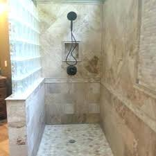 showers with half wall walk in shower with half glass wall glass block walls in bathrooms showers with half wall