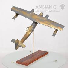 unknown vintage wood airplane sculpture wwii for