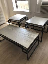 coffee table and two end tables grey wood with bronze metal base furniture in chicago il offerup