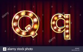 Q Letter Vector. Capital, Lowercase. Font Marquee Light Sign. Retro Shine  Lamp Bulb Alphabet. 3D Electric Glowing Digit. Vintage Gold Illuminated Ligh