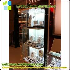 Standing Watch Display Case Luxury Glass Countertop Wooden Watch Display Pedestal Display Case 9