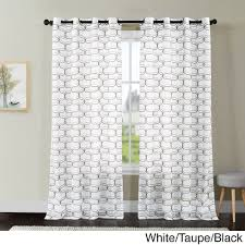 vcny khara embroidered sheer grommet top curtain panel 108 inch taupe white