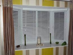 White Venetian Blinds Covering Bay Windows Revealed Behind Brown Bay Window Vertical Blinds