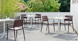 outdoor cafe table and chairs. Ypsilon Large White Outdoor Cafe Table And Chairs