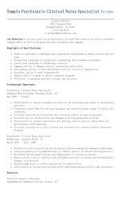 Sample Psychiatric Clinical Nurse Specialist Resume Resame