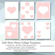 8 X 10 Heart Template 6 Photo Collage Template Photoshop