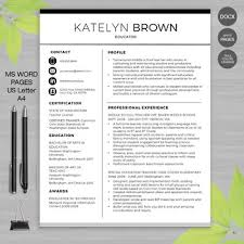 Resume Templates For Teachers Best Of TEACHER RESUME Template For MS Word Educator Resume Writing Guide