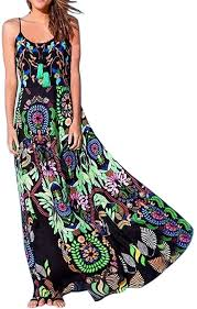<b>2019 Summer</b> Beach <b>Dresses</b> Vintage Boho Floral Print Sleeveless ...