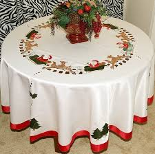 vintage embroidered santa tablecloth round white ivory with napkins