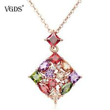 whole whole vgds new luxury semi precious stone women pendant necklaces gold plate copper with natural stone romantic wedding lady necklaces silver