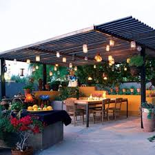 pergola with corrugated metal roof backyard idea mason jar lights outdoor