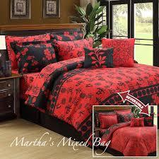 ASIAN ORIENTAL SAKURA CHERRY BLOSSOM Black Red Queen Size COMFORTER Bedding  Set #Asian