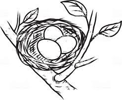 鳥の巣と卵 3 個 いたずら書きのベクターアート素材や画像を多数ご用意