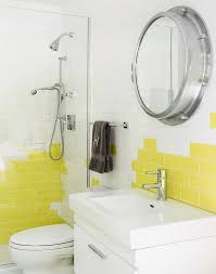 bathroom with yellow subway tiles view full size