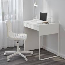 Furniture:Minimalistic Computer Desk With Futuristic Shape In Slim Shape  Very Small White Minimalist Computer