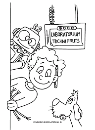 Kleurplaat Laboratorium Robot Beroepen