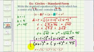 ex find standard equation of a circle given center and point on