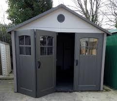 folding garage doorsLifetime 11ft x 11ft HDPE Garage with TriFold Opening Doors