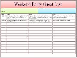Party List Template Guest List Template For Wedding Or Weekend Party