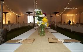 diy burlap table runner on round wedding