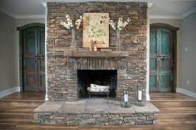 stacked stone fireplace indoor