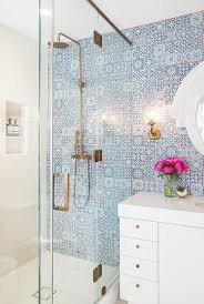 blue mosaic tile bathroom wall glass