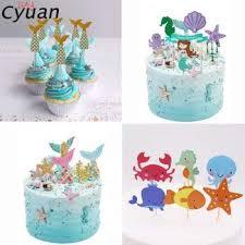Glittering Mermaid Shells Ocean Ice Cream Theme Happy Birthday Party