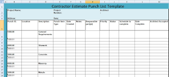 List Template Free Construction Project Punch List Template Free Download