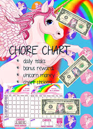 Unicorn Star Chart Kids Chore Chart Unicorn Planner Kids Reward Chart