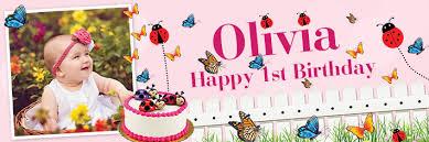 1st birthday banner happy 1st birthday butterfly ladybird banner theme