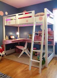 modern white bunk beds with stairs plus computer desk and pink bookcase with wooden floor for