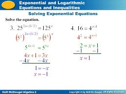 algebra 2 worksheet solving exponential and log equations