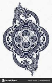 Draci A Keltský Strom života Tetování Mystic Kmenový Symbol