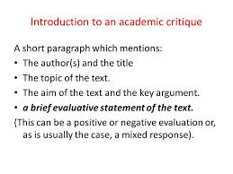 three faces of a critique oral presentation critique critique of introduction to an academic critique a short paragraph which mentions the author s